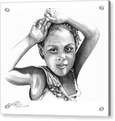 Acrylic Print featuring the drawing Mariane by Bob Salo