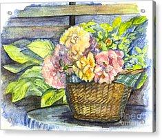 Marias Basket Of Peonies Acrylic Print