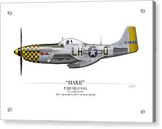 Marie P-51 Mustang - White Background Acrylic Print by Craig Tinder