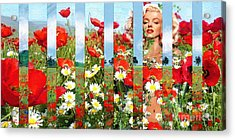 Marilyn In Poppies 1 Acrylic Print