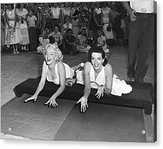 Marilyn Monroe And Jane Russell Acrylic Print by Underwood Archives