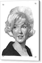 Acrylic Print featuring the drawing Marilyn Monroe - 015 by Abbey Noelle