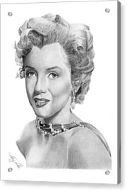 Acrylic Print featuring the drawing Marilyn Monroe - 016 by Abbey Noelle