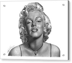 Acrylic Print featuring the drawing Marilyn Monroe - 018 by Abbey Noelle