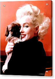 Marilyn Monroe And Pekingese Portrait Acrylic Print