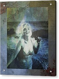 Marilyn Monroe At The Beach Acrylic Print by Absinthe Art By Michelle LeAnn Scott
