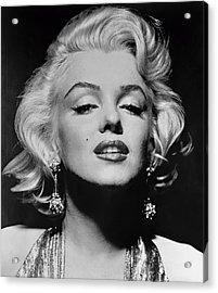 Marilyn Monroe Black And White Acrylic Print by Georgia Fowler