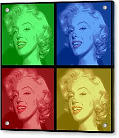 Marilyn Monroe Colored Frame Pop Art Acrylic Print by Daniel Hagerman