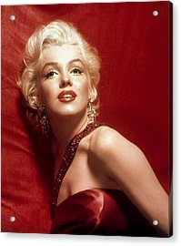 Marilyn Monroe In Red Acrylic Print by Georgia Fowler