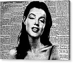 Marilyn Monroe On Vintage Newspaper Acrylic Print
