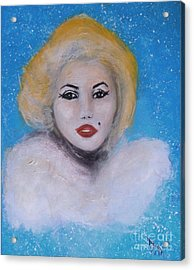 Marilyn Monroe Out Of The Blue Into The White Acrylic Print by Donna Dixon