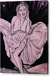 Acrylic Print featuring the drawing Marilyn Monroe Pretty In Pink Lite by Eric Dee