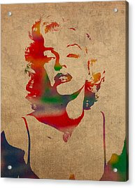 Marilyn Monroe Watercolor Portrait On Worn Distressed Canvas Acrylic Print by Design Turnpike