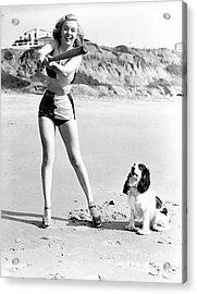 Marilyn Playing Baseball At The Beach Acrylic Print by R Muirhead Art