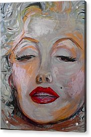 Marilyn With The Red Lips Acrylic Print by Jan VonBokel