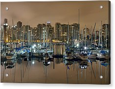Marina Along Stanley Park In Vancouver Bc Acrylic Print by David Gn