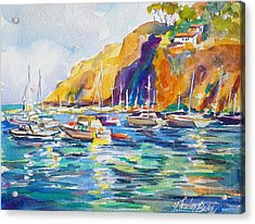 Marina At Catalina Acrylic Print by Therese Fowler-Bailey