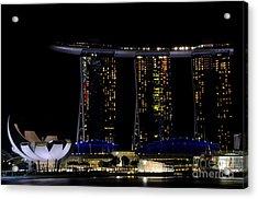 Marina Bay Sands Integrated Resort Hotel And Casino And Artscience Museum Singapore Marina Bay Acrylic Print by Imran Ahmed