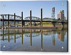 Acrylic Print featuring the photograph Marina By Willamette River In Portland Oregon by JPLDesigns