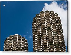 Marina City Morning Acrylic Print by Steve Gadomski