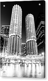Marina City Towers At Night Black And White Picture Acrylic Print by Paul Velgos