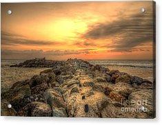 Marina Park Beach Sunset Acrylic Print by Eddie Yerkish