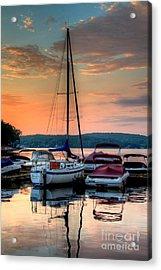 Marina Sunrise Acrylic Print by Craig Holquist