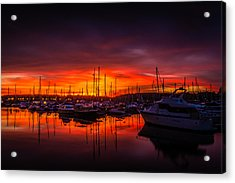 Marina Sunset Acrylic Print by Dawn OConnor
