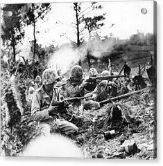 Marines In Okinawa Acrylic Print by Underwood Archives