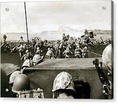 Marines Landing On Iwo Jima Acrylic Print by Underwood Archives