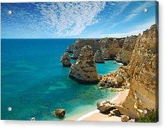 Marinha Cove Algarve Portugal Acrylic Print by Amanda Elwell