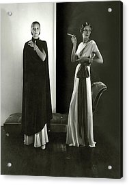 Marion Morehouse And Ruth Covell Wearing A Cape Acrylic Print