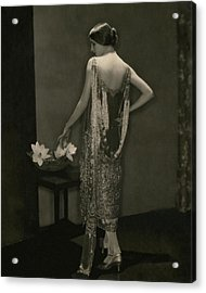 Marion Morehouse Wearing A Chanel Dress Acrylic Print