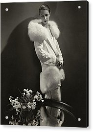 Marion Morehouse Wearing An Augustabernard Jacket Acrylic Print by Edward Steichen