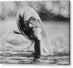 Marisa Berenson Flipping Her Hair In Water Acrylic Print