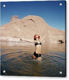 Marisa Berenson Wearing A Bikini In A Lake Acrylic Print