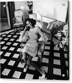 Marisa Berenson Wearing A Forneris Organza Dress Acrylic Print