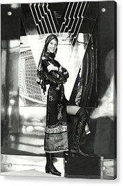 Marisa Berenson Wearing A Paisley Dress And Scarf Acrylic Print