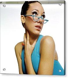 Marisa Berenson Wearing Blue Glasses Acrylic Print by Bert Stern