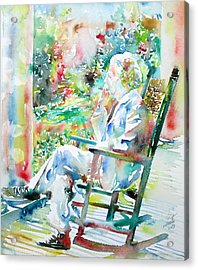 Mark Twain Sitting And Smoking A Cigar - Watercolor Portrait Acrylic Print by Fabrizio Cassetta