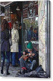 Market Buskers 13 Acrylic Print by Tim Allen