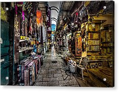 Market In The Old City Of Jerusalem Acrylic Print by David Morefield