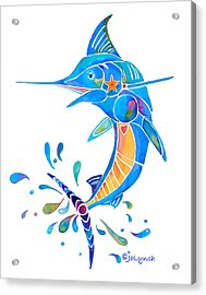 Acrylic Print featuring the painting Marlin Dance Of Color by Jo Lynch