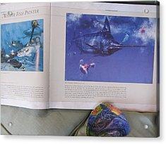 Marlin On An Oyster Shell Acrylic Print by Debbie Nester