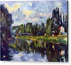 Marne Shore By Cezanne Acrylic Print by John Peter