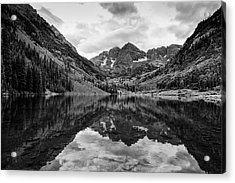 Maroon Bells - Aspen - Colorado - Black And White Acrylic Print