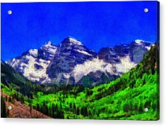 Maroon Bells Colorado Peaks On Canvas Acrylic Print