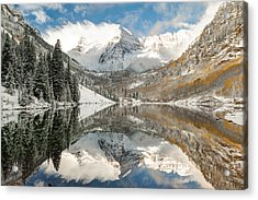 Maroon Bells Covered In Snow - Aspen Colorado Acrylic Print