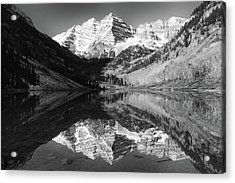 Maroon Bells Reflections - Black And White Acrylic Print