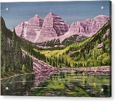 Maroon Bells Revisited Acrylic Print by Dana Carroll